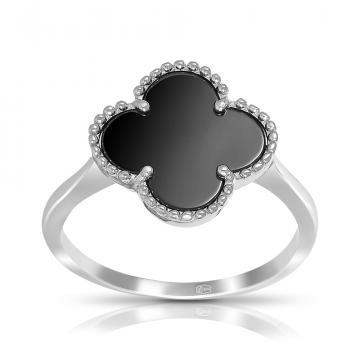 Кольцо из серебра с черной керамикой, коллекция КЛЕВЕР
