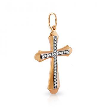 Крестик из золота с фианитами