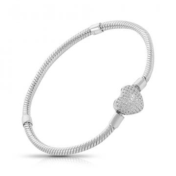 Браслет для Шармов TALANT Сердце из серебра с фианитами