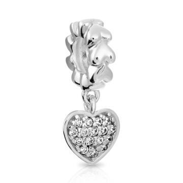 Подвеска-шарм Сердце SOKOLOV с фианитами из серебра