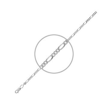 Браслет, плетение Фигаро, из серебра