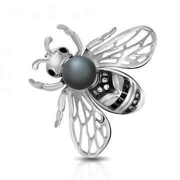 Брошь Пчела из серебра с жемчугом и фианитами