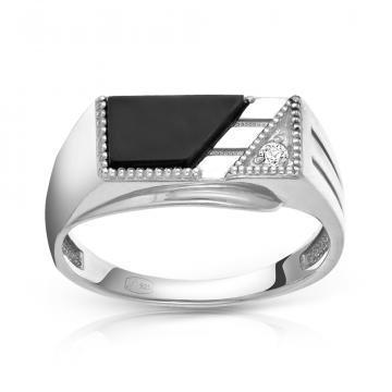 Кольцо-печатка из серебра с агатом и фианитом