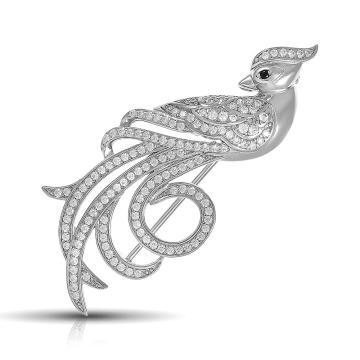 Брошь Павлин из серебра с фианитами