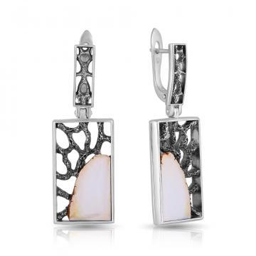 Серьги из серебра с янтарем