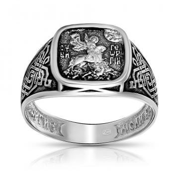 Кольцо-печатка Георгий Победоносец из серебра