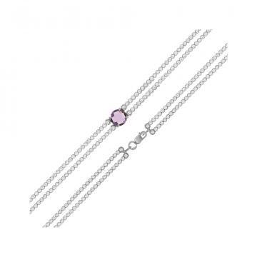 Браслет из серебра с ювелирным кристаллом и фианитами