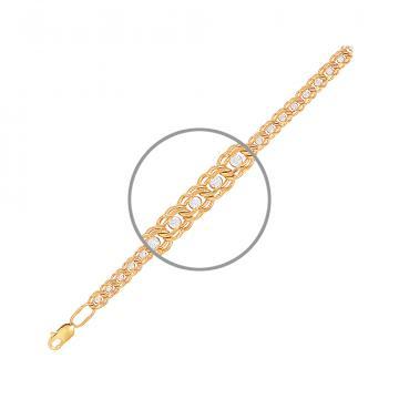 Браслет, плетение Бимарк, из золота с фианитами