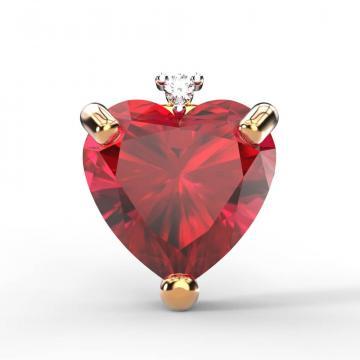 Серьга-пусета из золота с рубином и бриллиантом